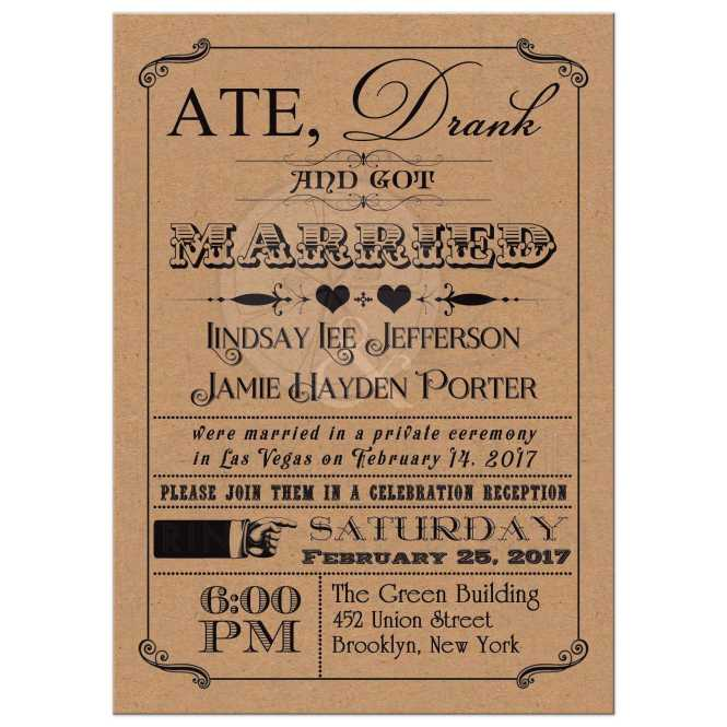 Post Wedding Invitation Vintage Poster Scrolls Kraft Paper Look