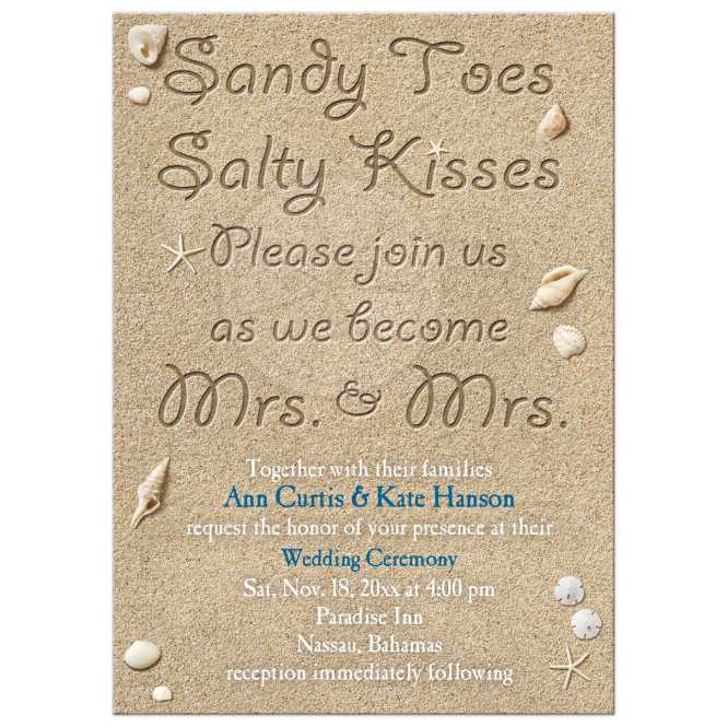 Same An Wedding Invitation Beach Sandy Toes Salty Kisses