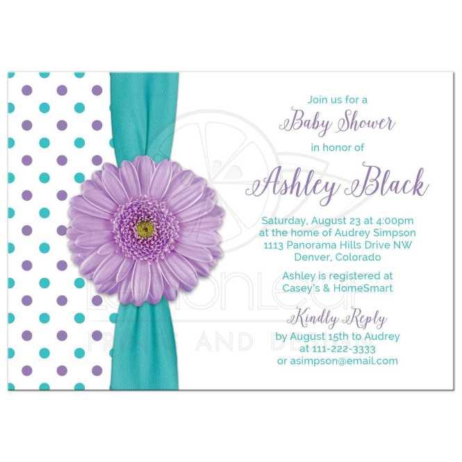 Purple Daisy Polka Dot Baby Shower Invitation Turquoise White