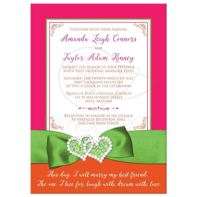 Tropical Wedding Invitation Hot Pink