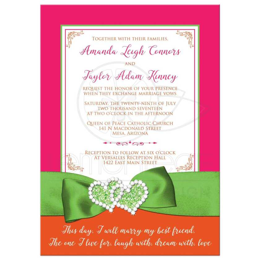 Fuchsia Pink Lime Green And White Wedding Invitations With Ribbon Glitter A Pair