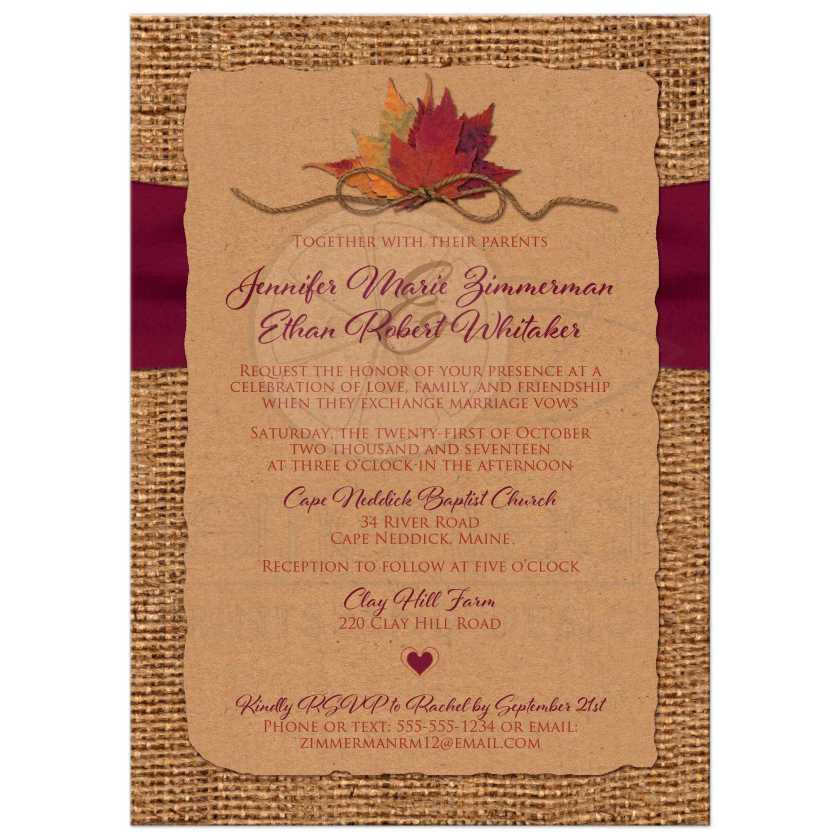 Burlap And Kraft Paper Wedding Invites With A Wine Ribbon Orange Painted Wood Heart