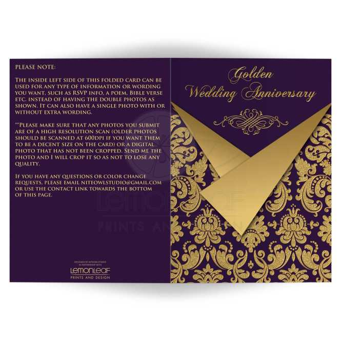 Royal Purple And Gold Damask 50th Wedding Anniversary Invitations With Scroll Work Frame