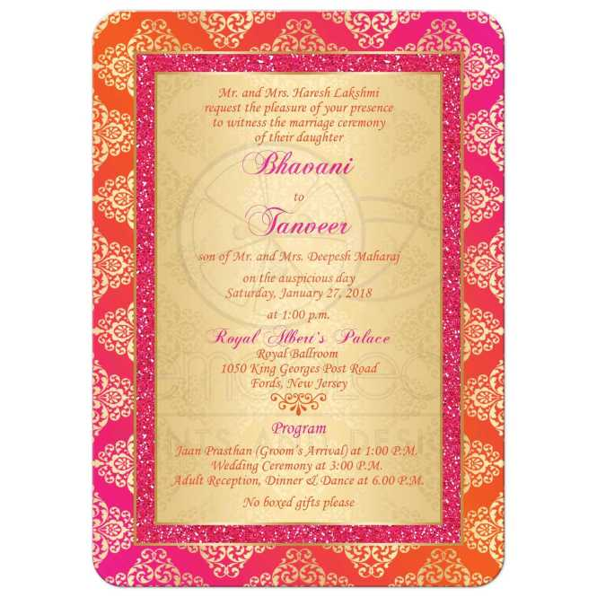 Wedding Invitation Orange Fuchsia