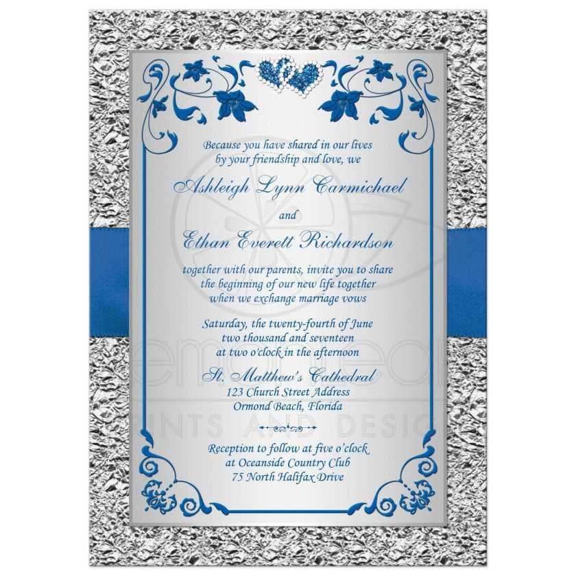 Royal Blue And Silver Gray Fl Wedding Invitation With Double Jeweled Hearts Ribbon