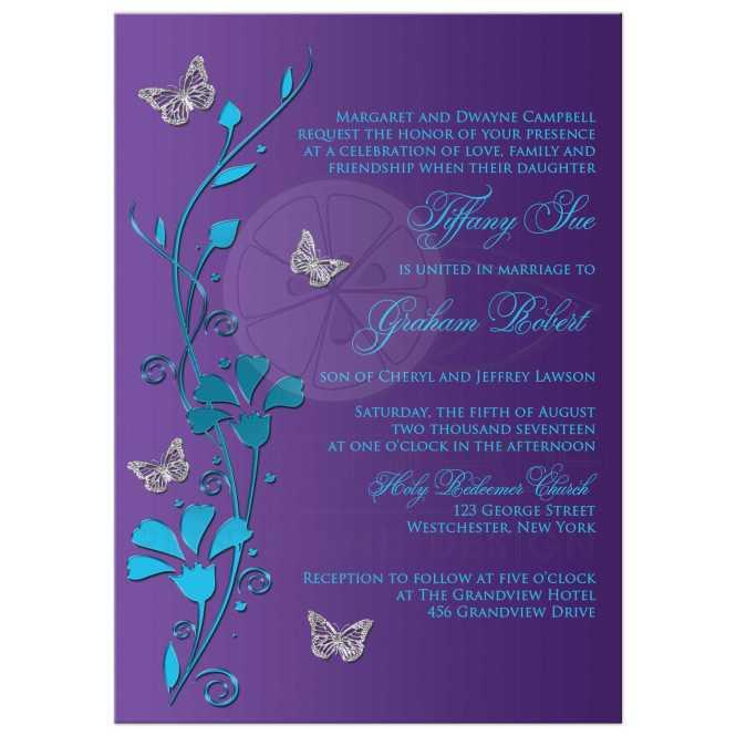 Wedding Invitation Turquoise Blue Purple Silver Flowers Erflies
