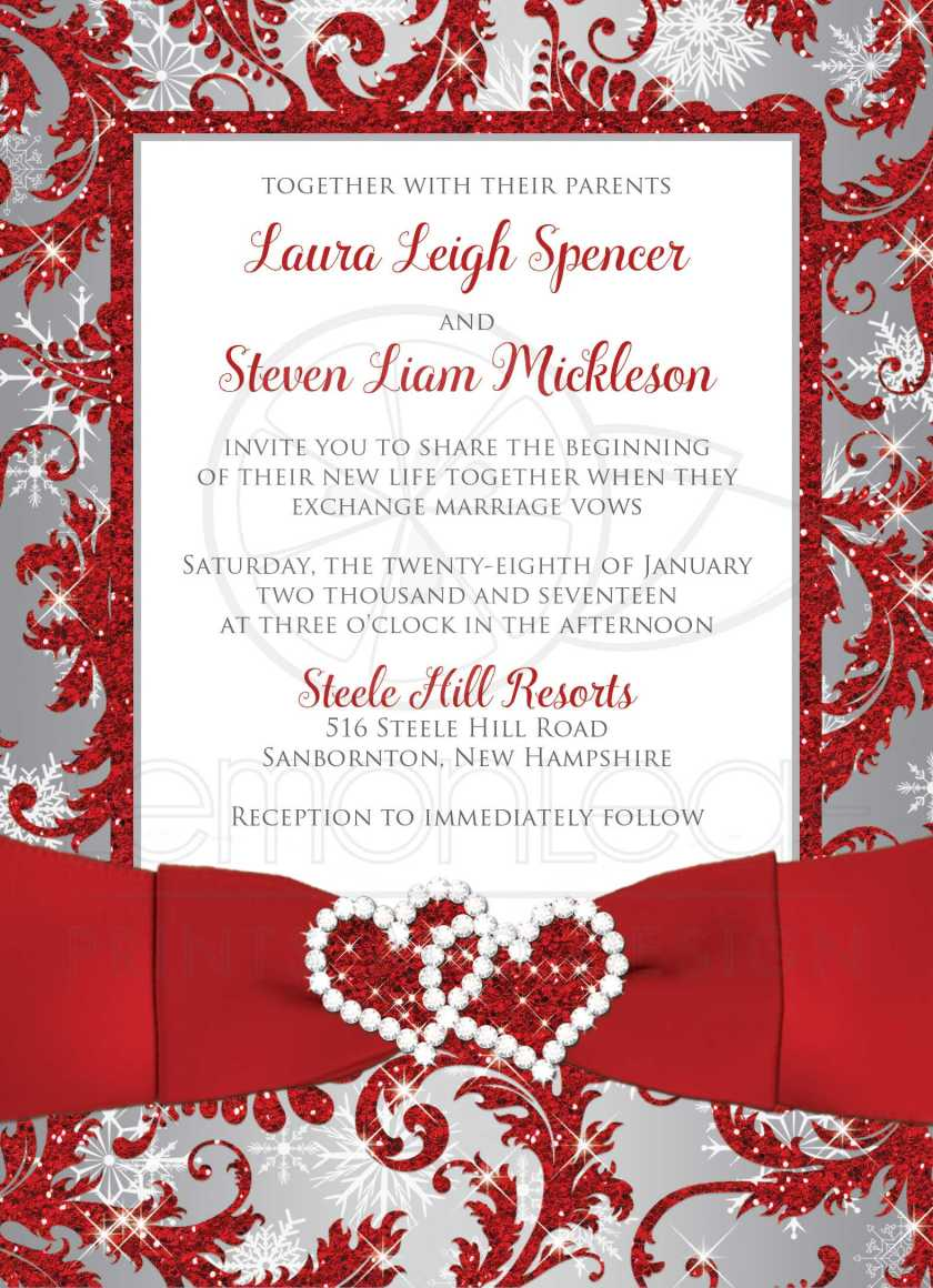 Red And Silver Wedding Invitations wedding ceremony invitation ...