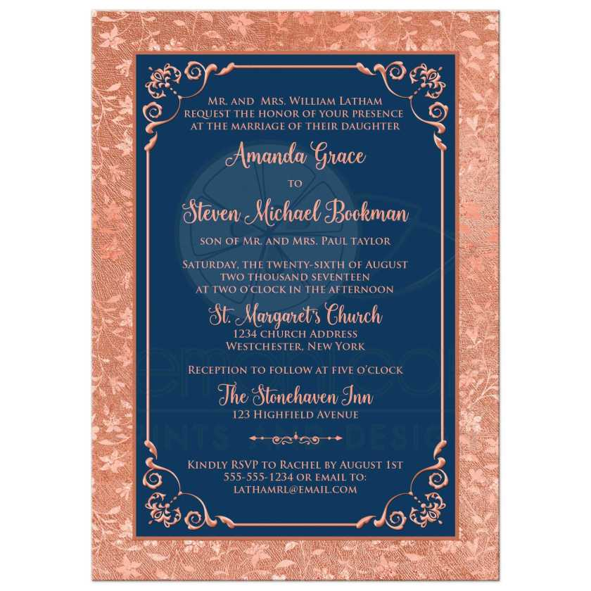 Navy Blue And Orange Copper Foil Wedding Invitation With Flowers Vines Decorative Scroll