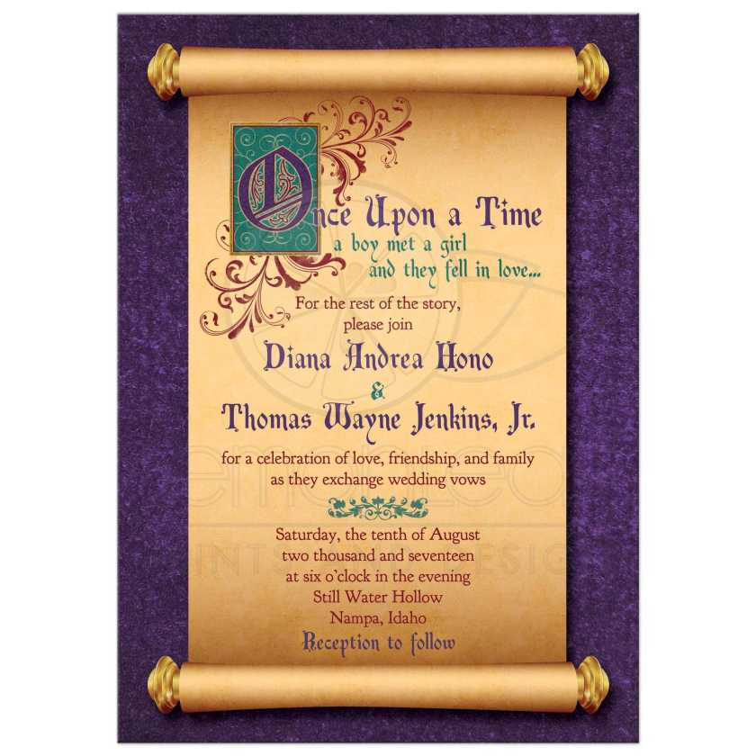 Unique Illuminated Text And Meval Scroll Fairytale Once Upon A Time Wedding Invitation Front