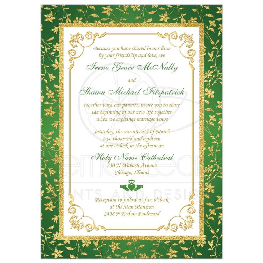 Green Gold And White Fl Photo Template Irish Or Cletic Wedding Invitation With Faux
