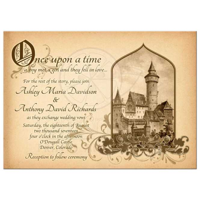 Beautiful Vintage Meval Castle Fairy Tale Once Upon A Time Wedding Invitation Front