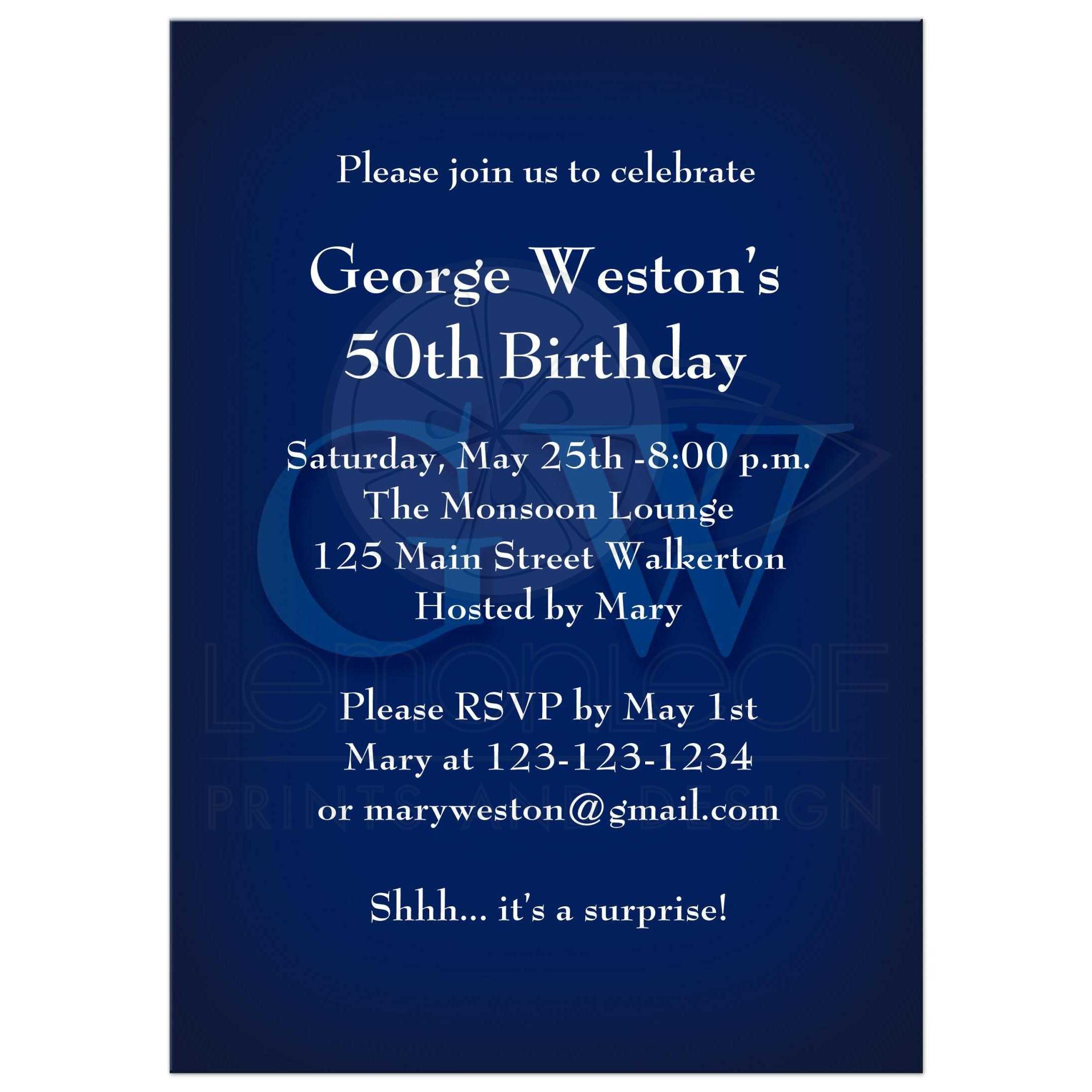 birthday invitation classic blue