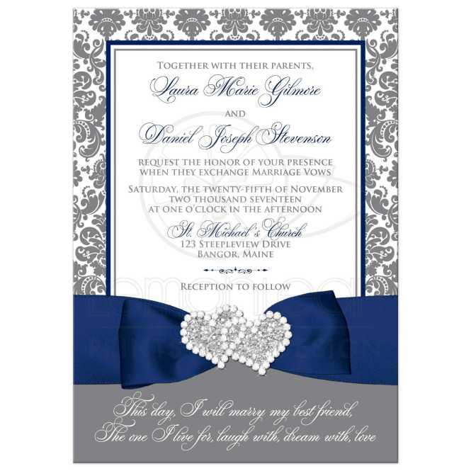 Navy Blue White And Gray Damask Wedding Invitation Printed Ribbon Bow Jewels Glitter