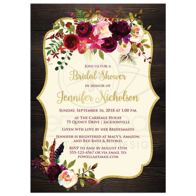 Rustic Boho Elegance Bridal Shower Invitation Burgundy Watercolor Fls Feathers Simulated Gold Leaf