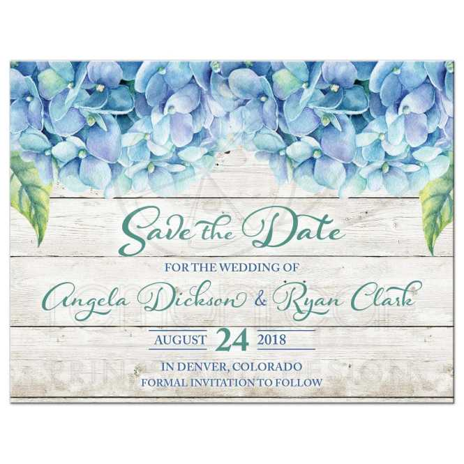 Blue Hydrangea Wedding Save The Date Green Fl Watercolor