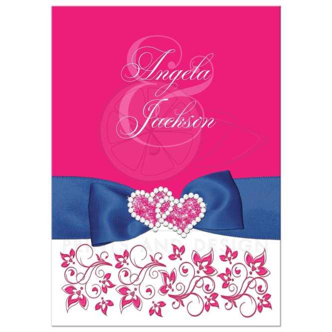 Hot Pink White Fl Printed Royal Blue Ribbon Wedding Invitation Jewels Glitter Double Hearts