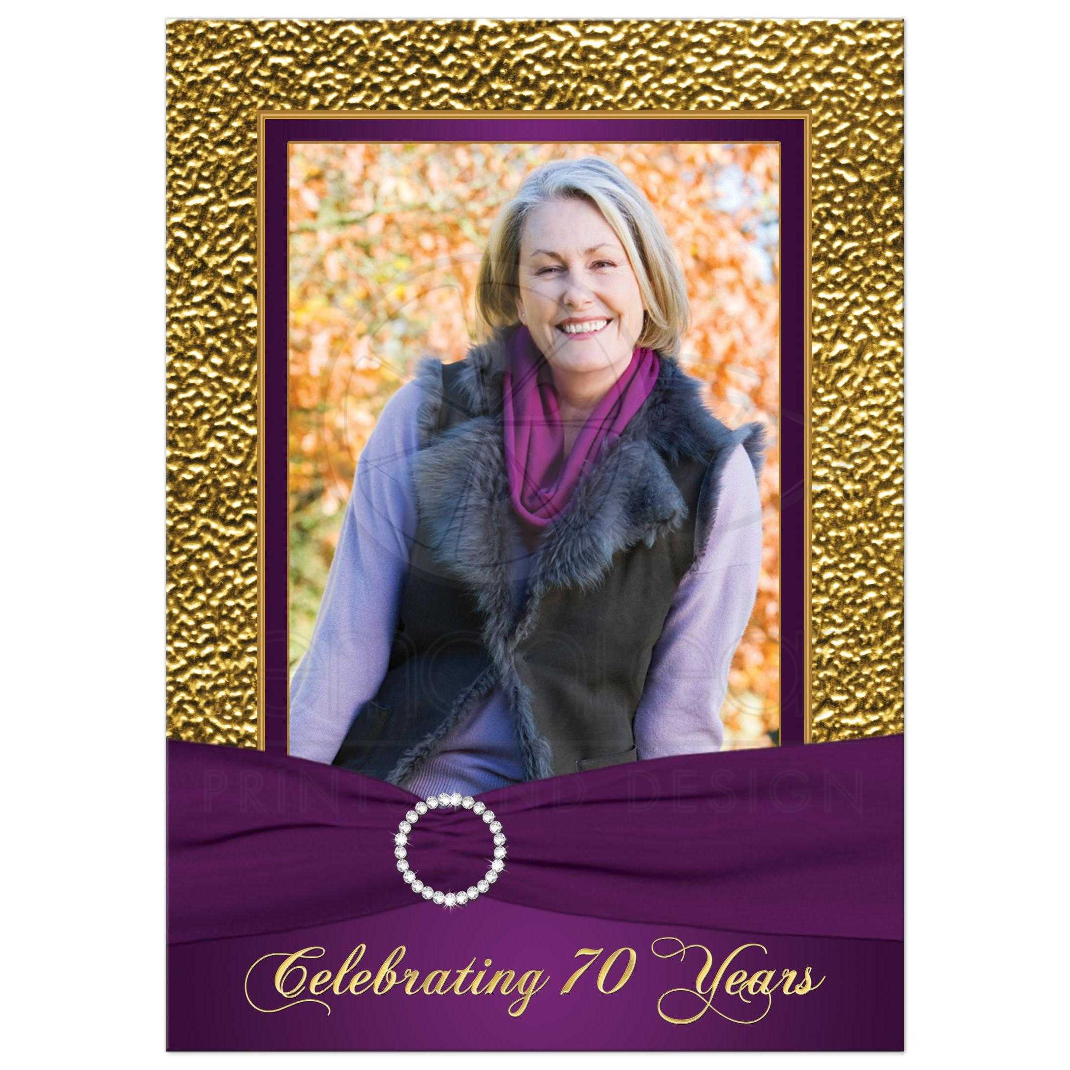 photo template purple gold 70th birthday invite printed ribbon and jewels