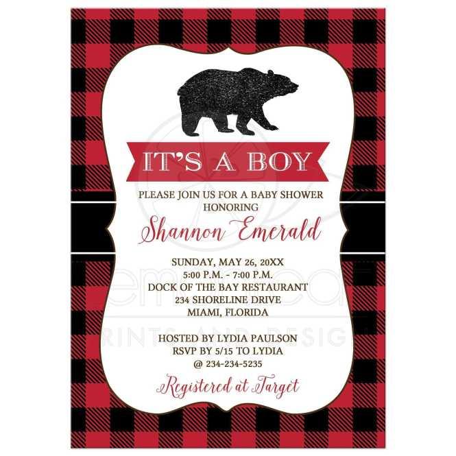 Lumberjack Black Bear Boy Baby Shower Invitation