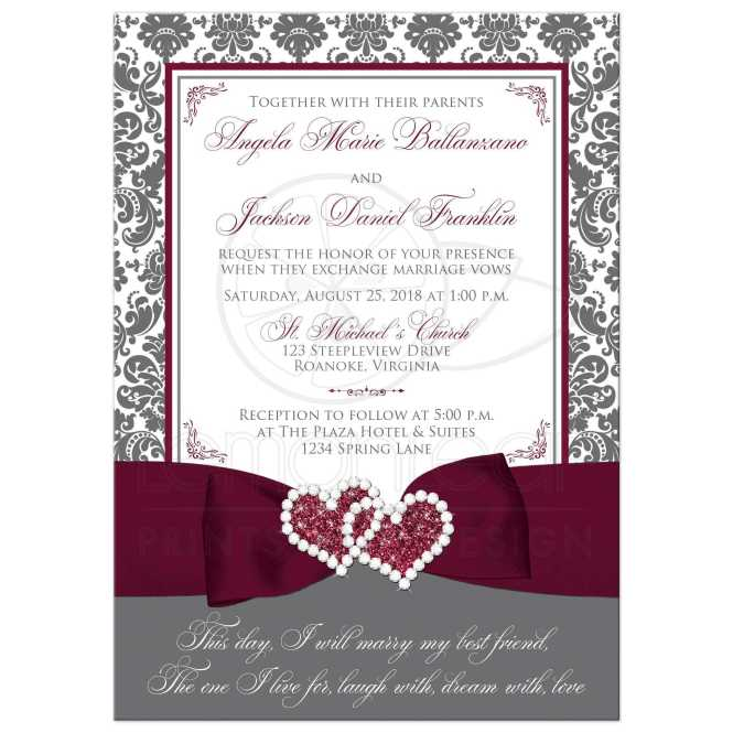 Gray White Damask Wedding Invitation Printed On Burgundy Accents
