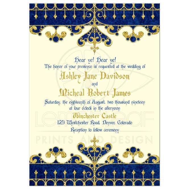 Meval Fairy Tale Wedding Invitation Royal Blue Gold Ivory
