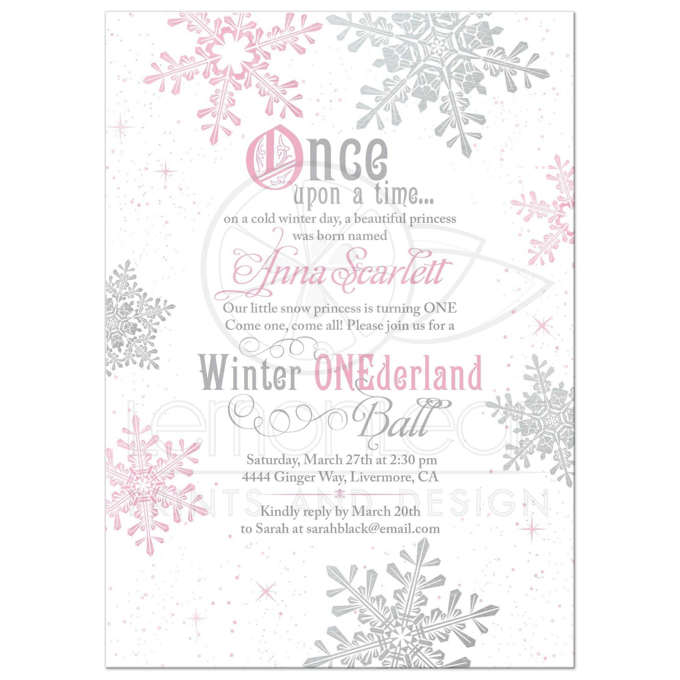 pink snowflake snow princess onederland first birthday invitation