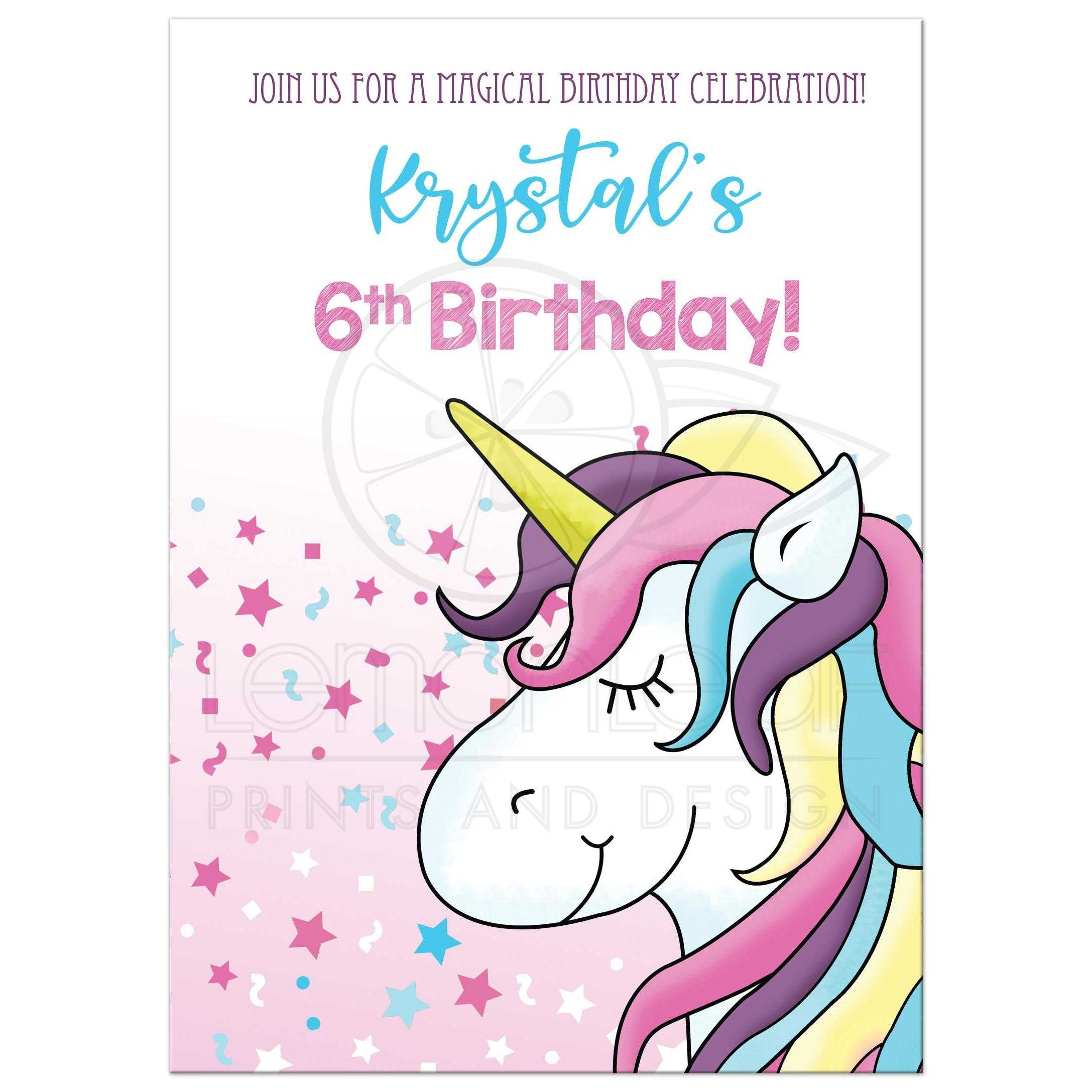 magical unicorn any age birthday card double sided