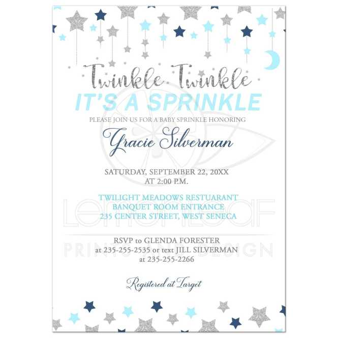 Le Baby Sprinkle Blue And Silver Boy Shower Invitation