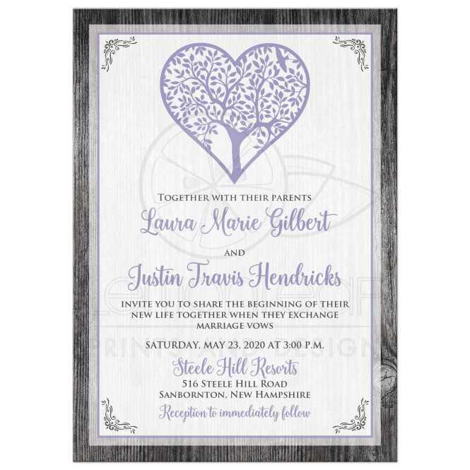 Lavender Purple Tree Heart On Grey Barn Board Wedding Invitation