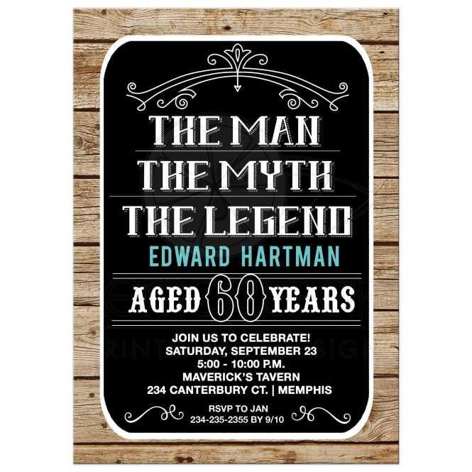 Man Myth Legend 60th Birthday Invitation 60 Year Old Invite