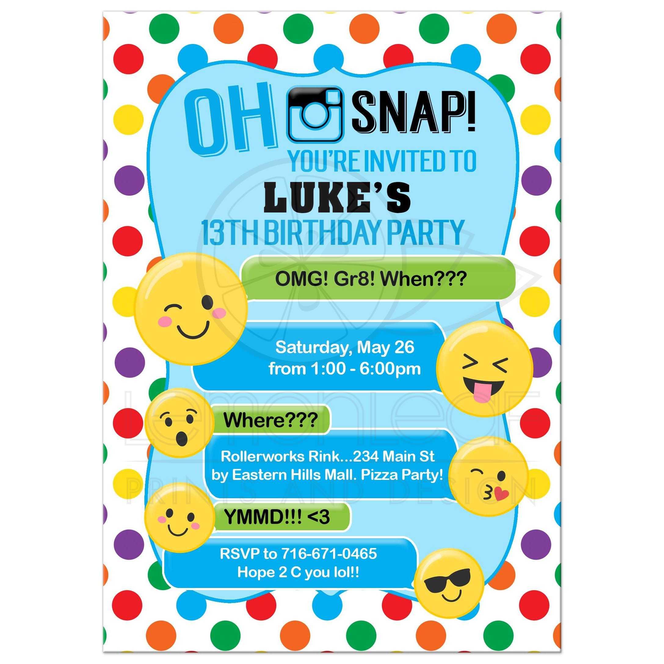 Kids Emoji Birthday Invitations Teen Tween Party Texting Birthday For Boys Teenager Birthdays