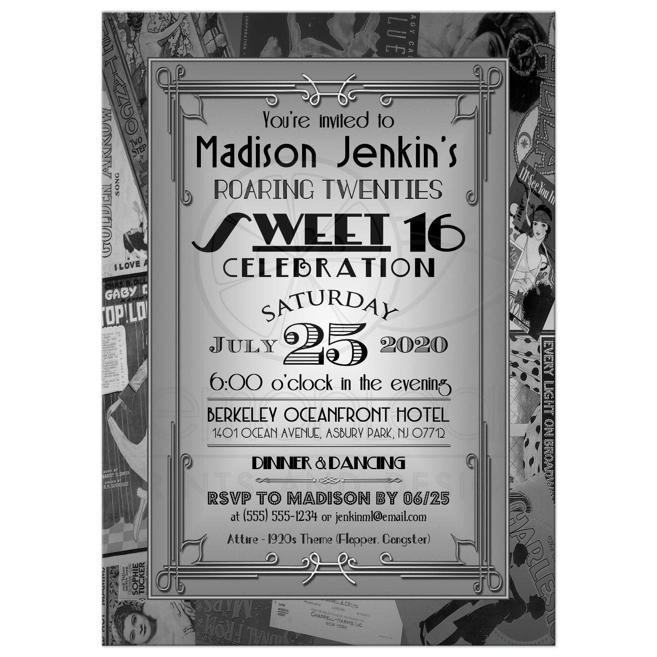 sweet 16 invitation roaring 20s art deco vintage posters