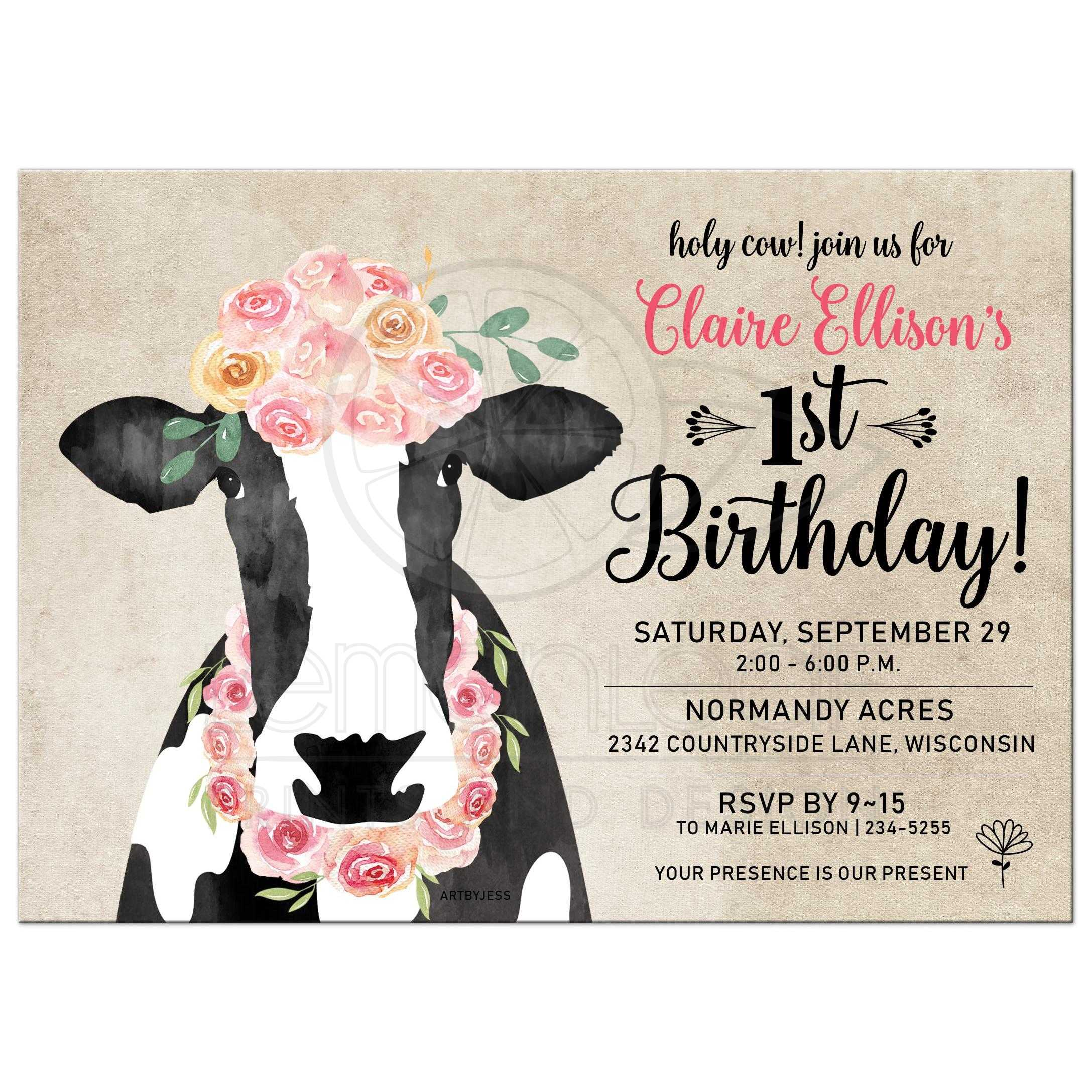 watercolor cow with floral crown girl 1st birthday invitation any age girl birthday