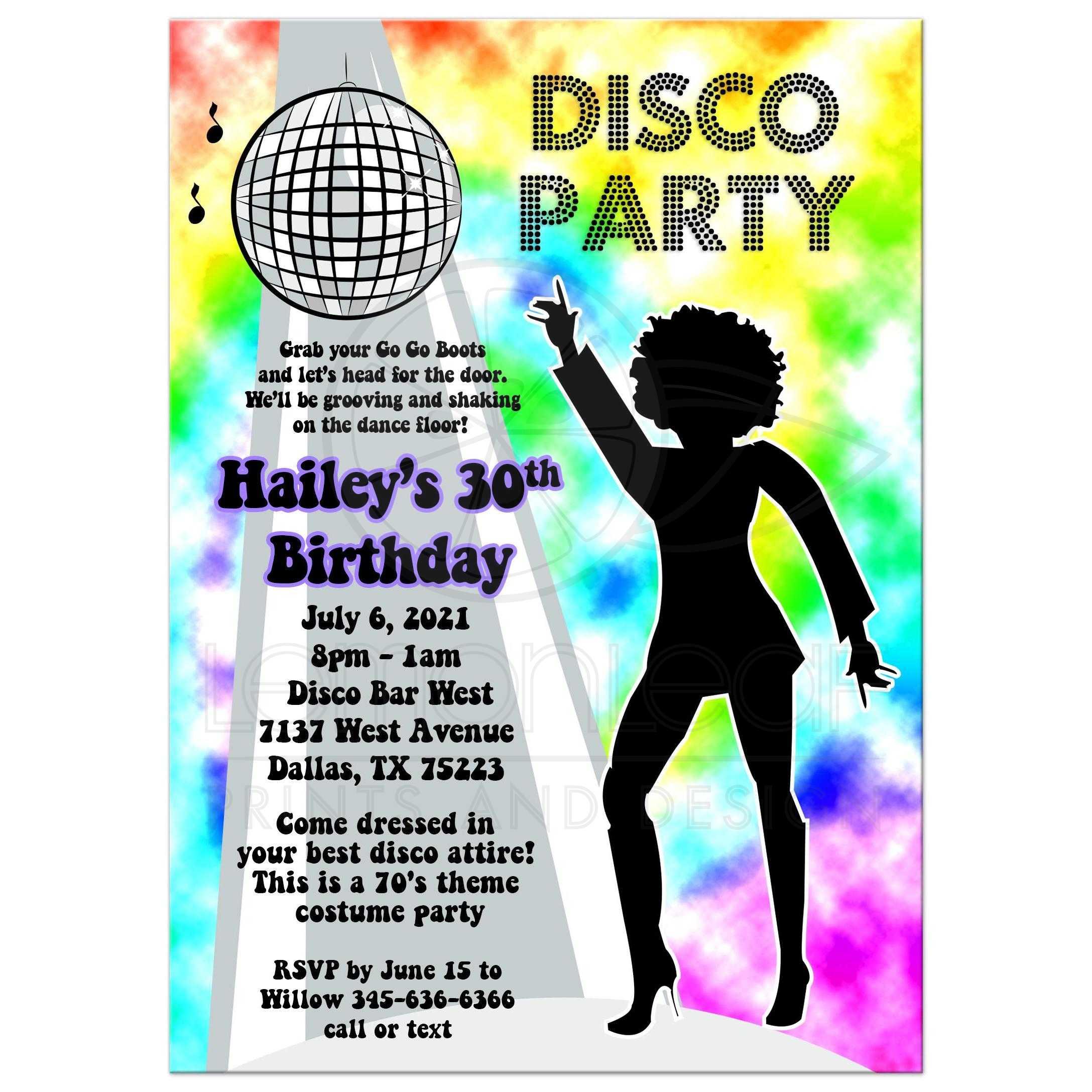 Rainbow Disco Ball 70 S Retro Theme Any Age Birthday Party Invitation Woman Girl