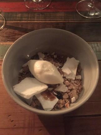 Beer porridge with white chocolate, liquorice, junket ice-cream and rye bread