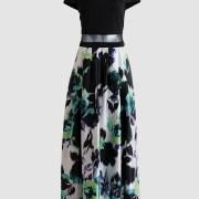renta-de-vestidos-en-puebla-negro-con-falda-flores-verde-off-shoulder-frente