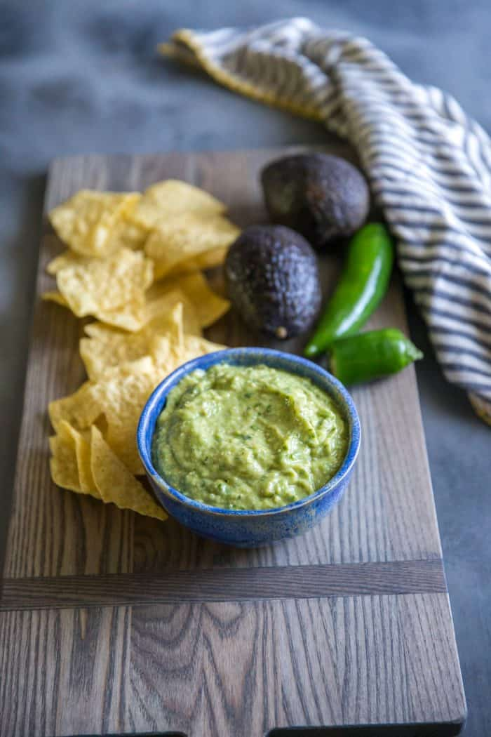 green salsa on a tray
