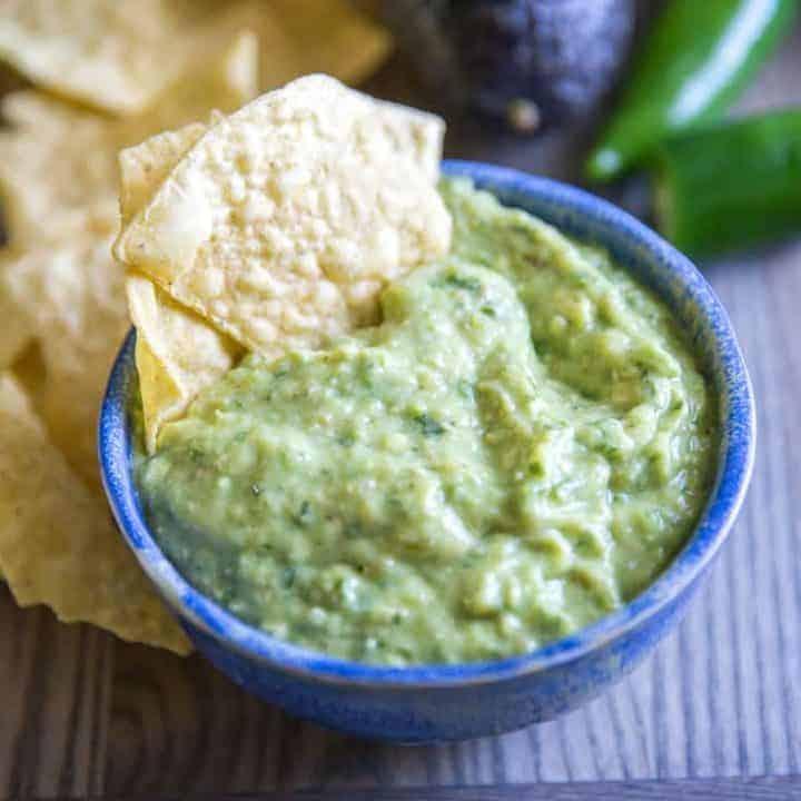 green salsa chip