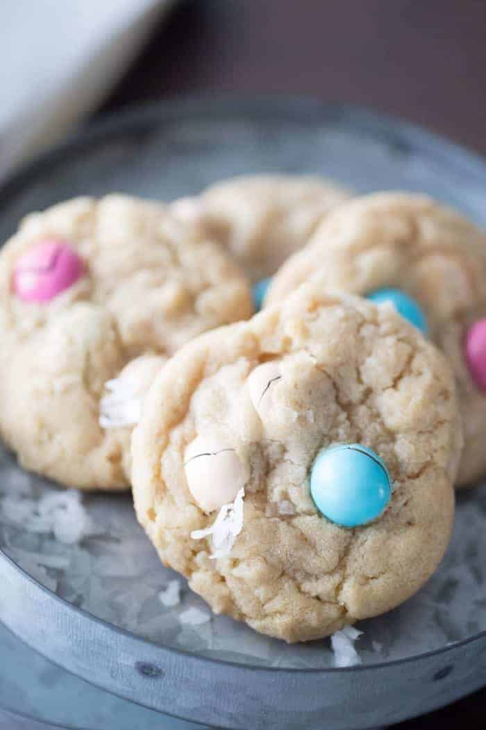 Easy coconut cookies made with candy pieces for the holiday!
