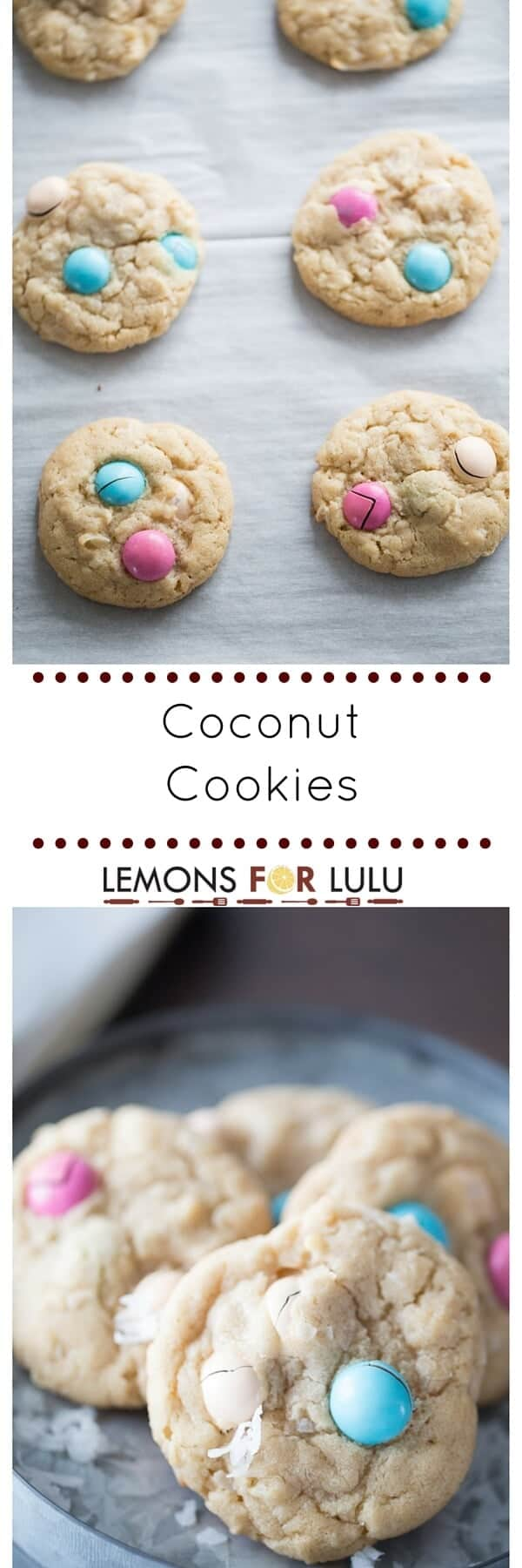Buttery and sweet coconut cookies are soft and tender and loaded with chocoalte pieces!