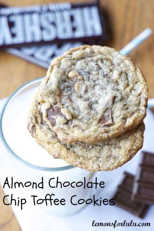 Almond Chocolate Chip Toffee Cookies