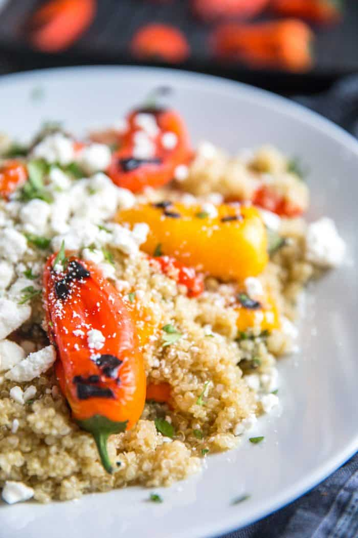 Quinoa with roasted peppers and feta