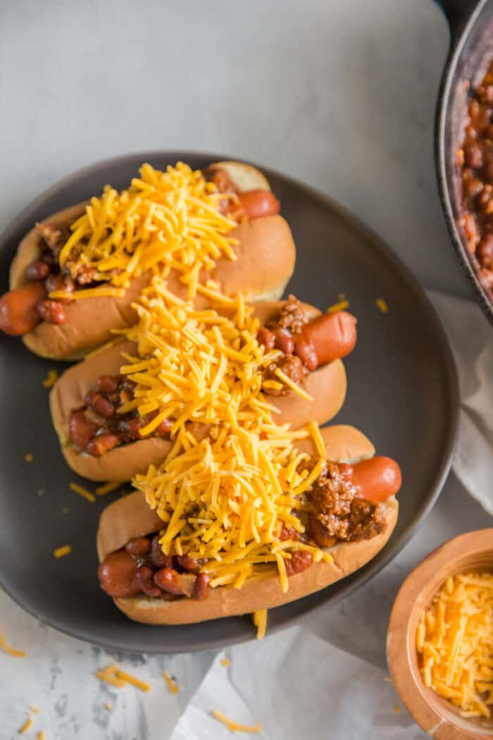 chili dogs 3 on a plate
