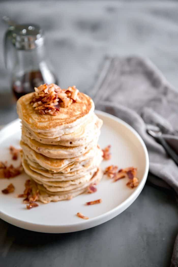 easy pancakes with chopped bacon