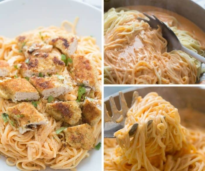 Chicken fettuccine alfredo like you've never tasted! Pasta noodles are coated with a light and creamy buffalo flavored alfredo sauce then topped with seasoned baked chicken