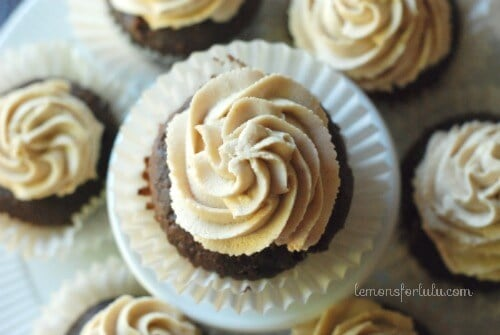 Assortment of Buckeye Cupcakes on a white platter.