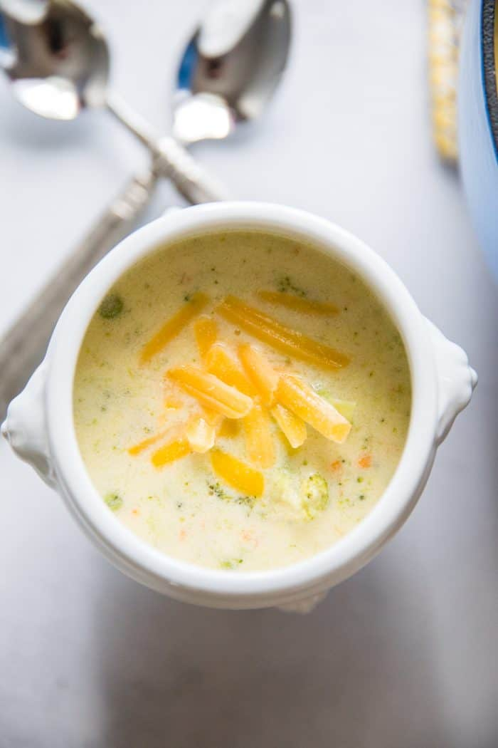 broccoli and cheese soup bowl close up