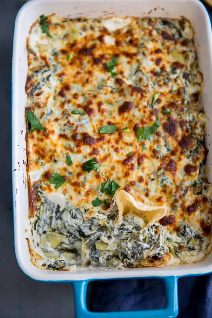 spinach artickoke dip scooped