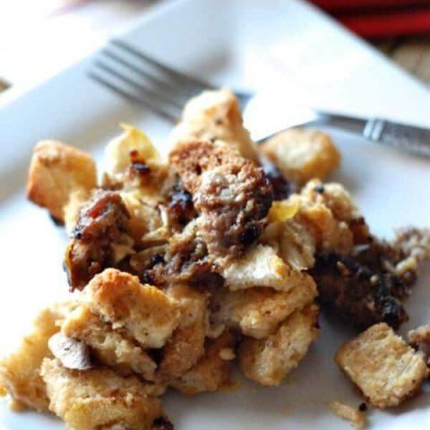 Homemade stuffing with sausage, mushroom and artichokes. www.lemonsforlulu.com