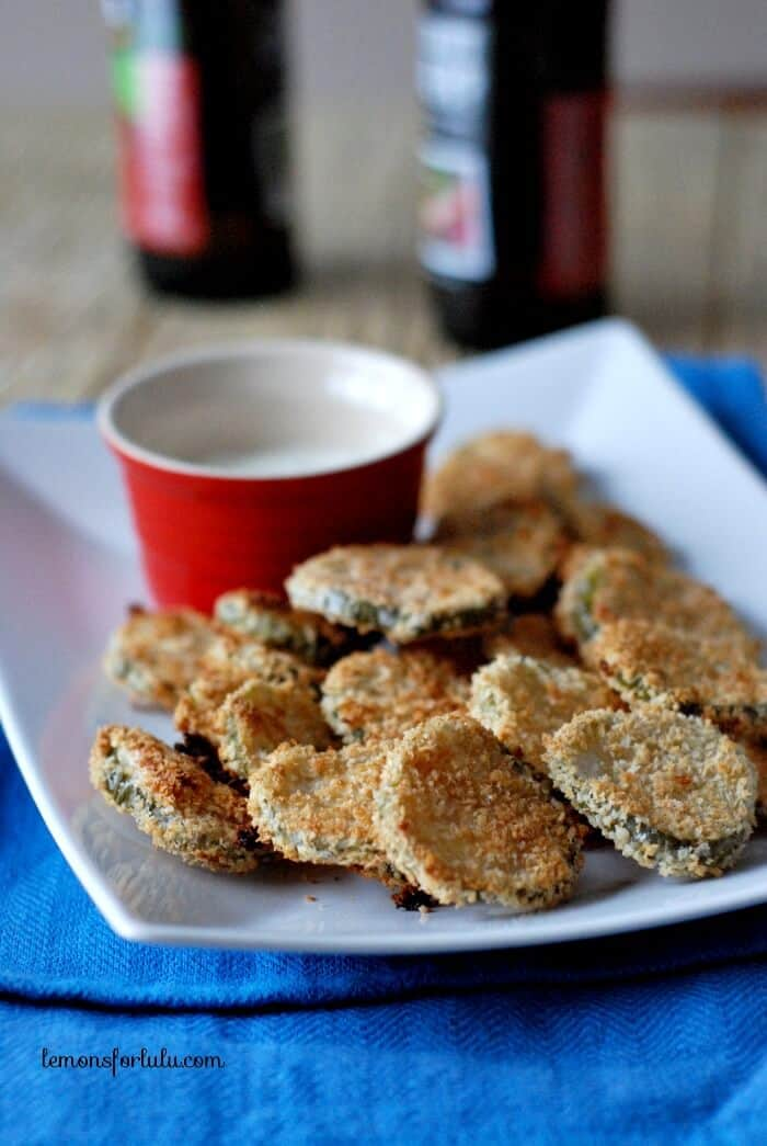 Pickle chips on a platter