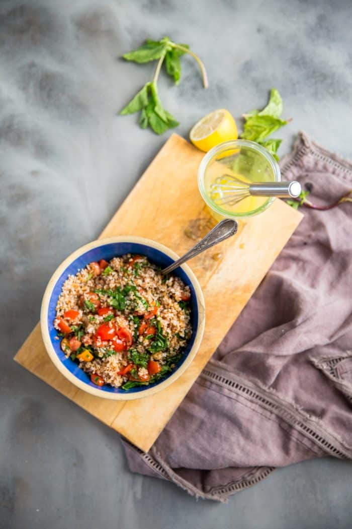 Tabbouleh on a cutting board